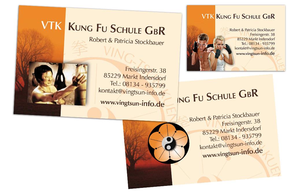 Visitenkarten entw rfe vtk kung fu schule jf grafix for Grafikdesign schule
